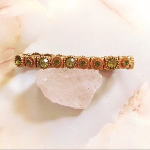 swarovski gold green crystal stretch bracelet